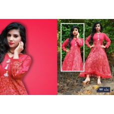 Designer Anarkali Long Kurti Red