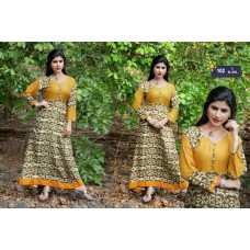 Designer Anarkali Long Kurti Mustard Yellow