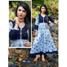 Designer Anarkali Long Kurti Navy Blue