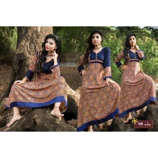 Designer Anarkali Long Kurti Dark Blue