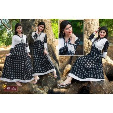 Designer Anarkali Long Kurti Black