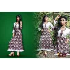Designer Anarkali Long Kurti Dark Brown