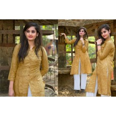 Front Open High Slit Cotton Dark Golden Rod Kurti