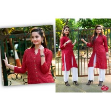 Front Open High Slit Cotton Dark Red Kurti