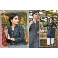 Front Open High Slit Cotton Black Kurti
