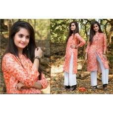 Front Open High Slit Cotton Orange Kurti