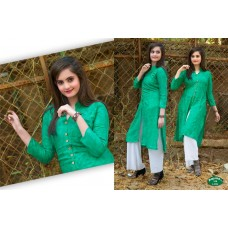 Front Open High Slit Cotton Green Kurti