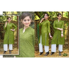 Front Open High Slit Cotton Olive Green Kurti