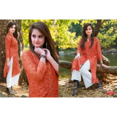 Front Open High Slit Cotton Orange Aurora Kurti